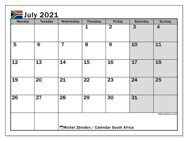 July 2021 Calendar, with the holidays of South Africa. Free printable calendar with public holidays.
