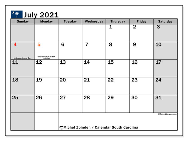 Calendar July 2021 - South Carolina. Public Holidays. Monthly Calendar and bullet journal to print free.