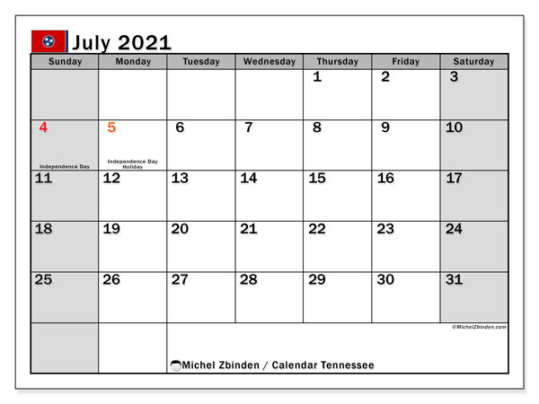 July 2021 Calendar, with the holidays of Tennessee. Free printable calendar with public holidays.