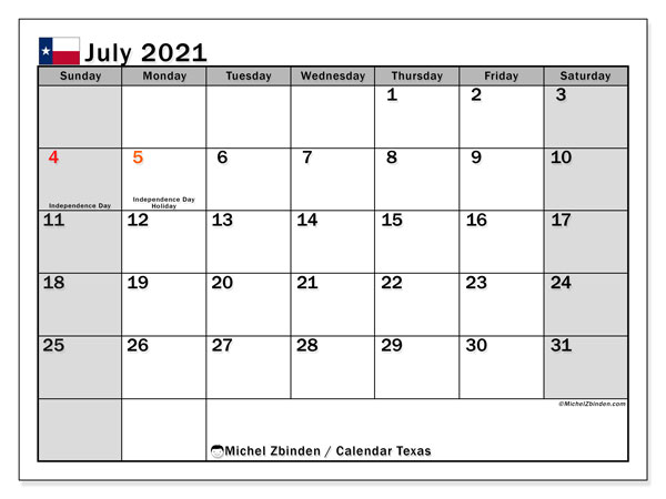 Calendar July 2021 - Texas. Public Holidays. Monthly Calendar and free printable planner.
