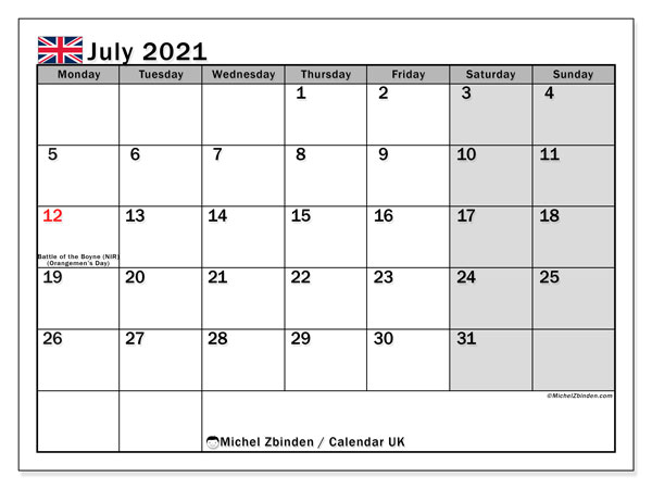July 2021 Calendar, with the holidays of UK. Free printable calendar with public holidays.