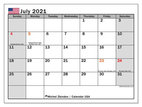 Calendar July 2021 - USA. Public Holidays. Monthly Calendar and free printable planner.