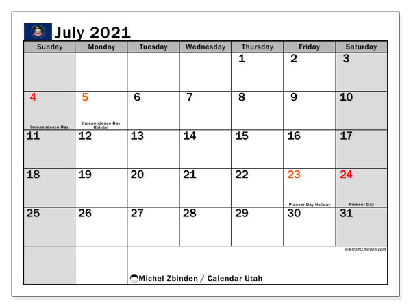 July 2021 Calendar, with the holidays of Utah. Holidays calendar to print free.