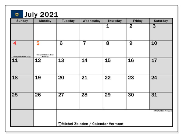 July 2021 Calendar, with the holidays of Vermont. Holidays calendar to print free.
