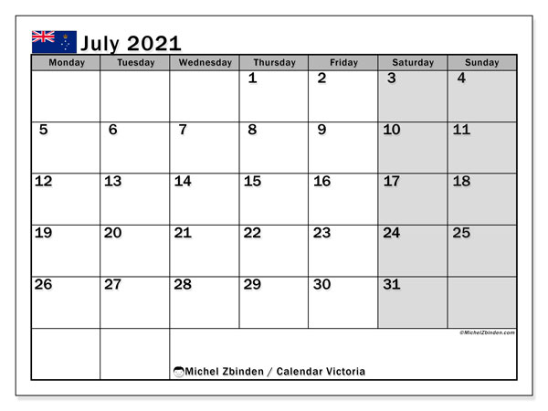 "Printable ""Victoria"" calendar with public holidays. Monthly July 2021 calendar and free schedule to print."