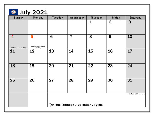 July 2021 Calendar, with the holidays of Virginia. Free printable calendar with public holidays.