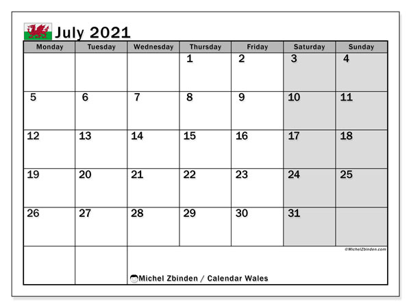 July 2021 Calendar, with the holidays of Wales. Holidays calendar to print free.