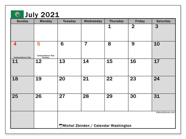 July 2021 Calendar, with the holidays of Washington. Free printable calendar with public holidays.