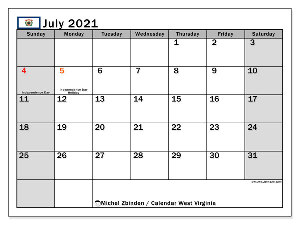 July 2021 Calendar, with the holidays of West Virginia. Free printable calendar with public holidays.