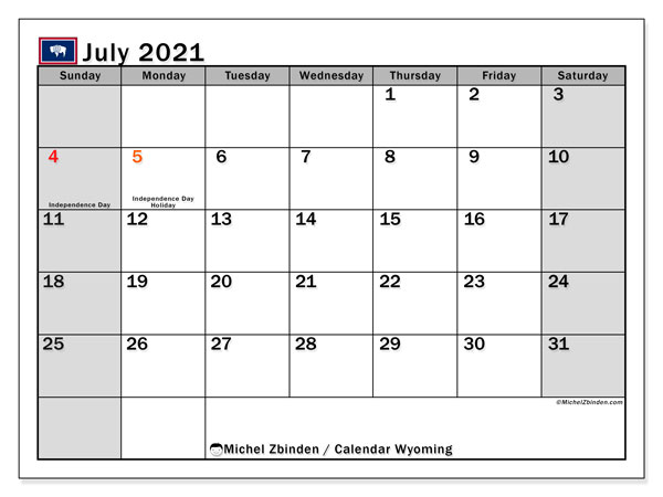 July 2021 Calendar, with the holidays of Wyoming. Holidays calendar to print free.