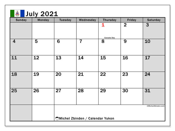 Calendar July 2021 - Yukon. Public Holidays. Monthly Calendar and free timetable to print.