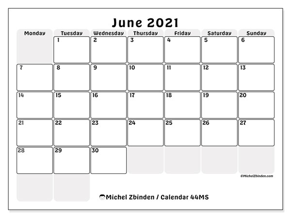 June 2021 Calendar, 44MS. Monthly planner to print free.