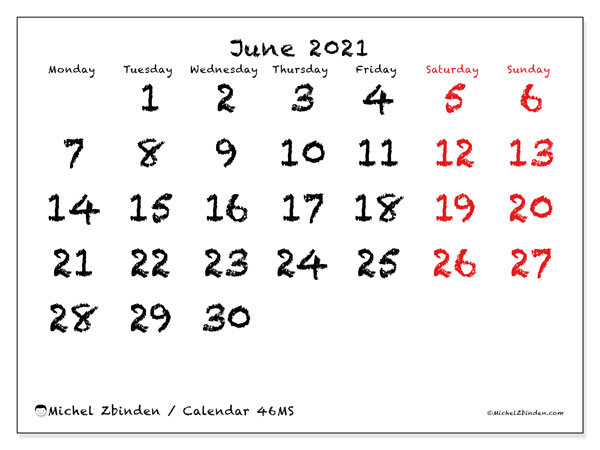 Calendar June 2021 - 46MS. With chalk. Monthly Calendar and schedule to print free.