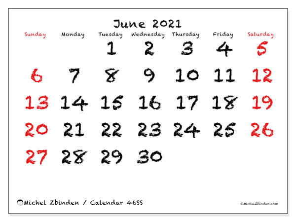 June 2021 Calendar, 46SS. Monthly planner to print free.