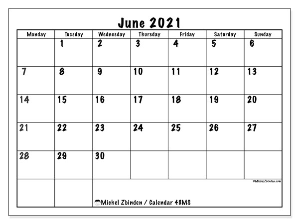 Printable calendars, June 2021, Monday - Sunday