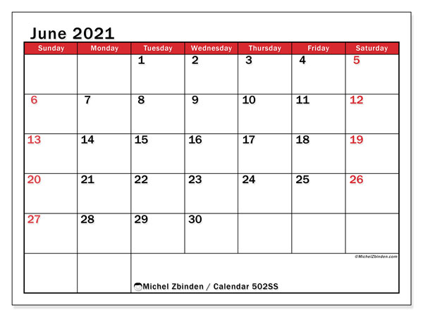 Printable calendar, June 2021, 502SS
