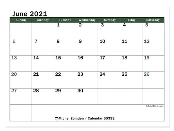 Printable calendar, June 2021, 503SS