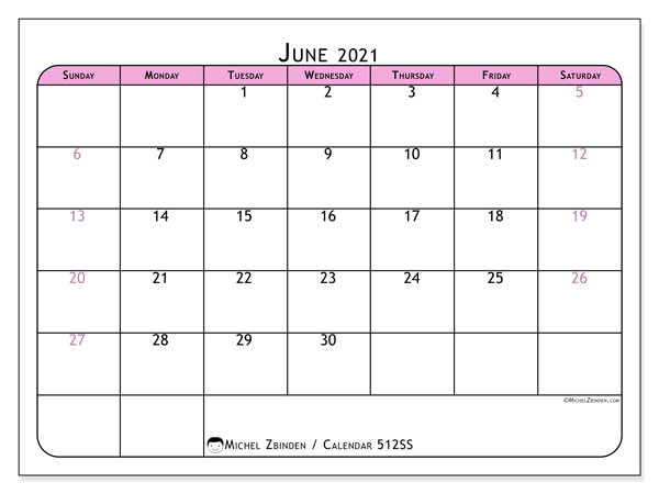 Printable calendar, June 2021, 512SS