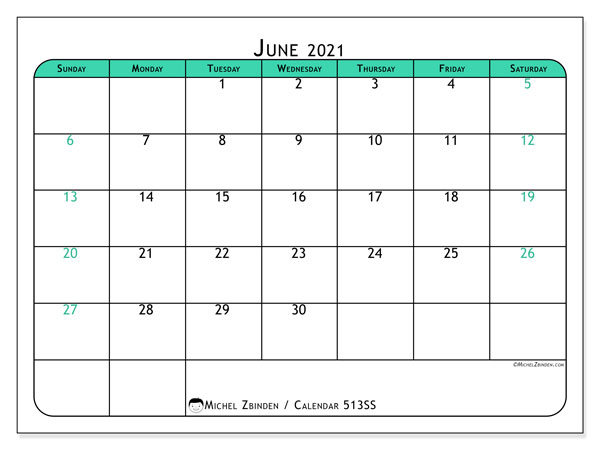 Printable calendar, June 2021, 513SS