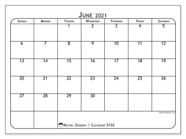 Printable calendar, June 2021, 51SS