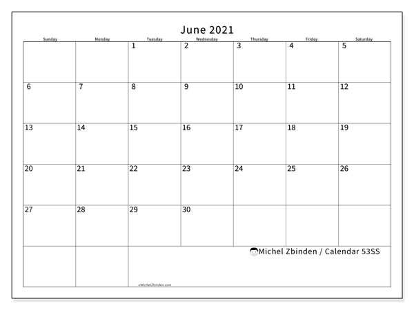 Printable calendar, June 2021, 53SS
