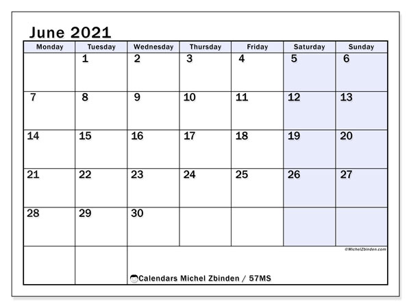 June 2021 Calendar, 57MS. Free printable bullet journal.