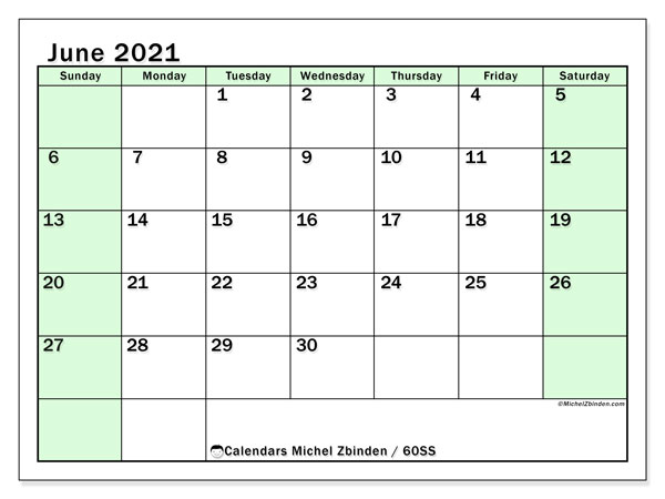 June 2021 Calendar, 60SS. Bullet journal to print free.