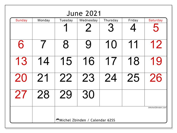 Printable calendar, June 2021, 62SS