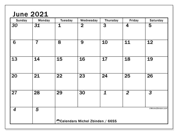 June 2021 Calendar, 66SS. Free printable monthly planner.