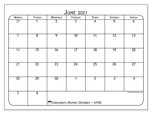 Calendar June 2021 - 67MS. The Complete. Monthly Calendar and free printable agenda.