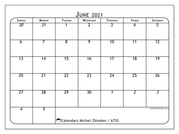 June 2021 Calendar, 67SS. Calendar to print free.