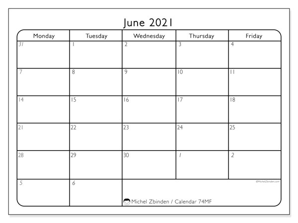 June 2021 Calendar, 74MS. Free printable monthly planner.