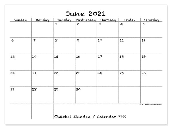 Printable calendar, June 2021, 77SS