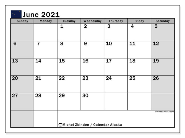 "Printable ""Alaska"" calendar with public holidays. Monthly June 2021 calendar and free timetable to print."