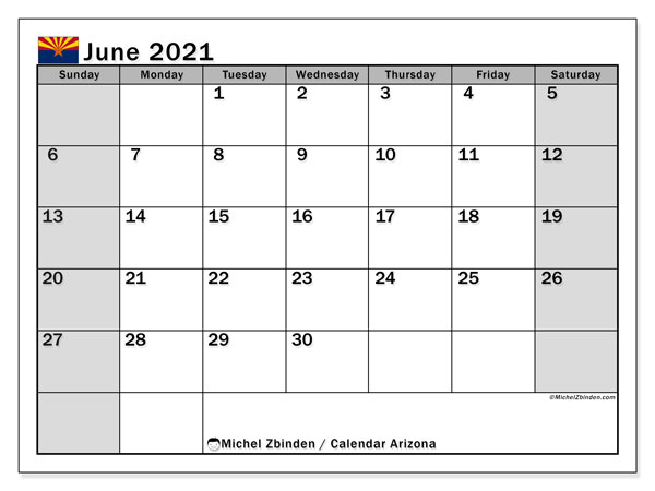 June 2021 Calendar, with the holidays of Arizona. Holidays calendar to print free.
