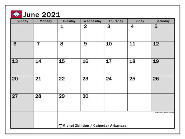 Calendar June 2021 - Arkansas. Public Holidays. Monthly Calendar and planner to print free.