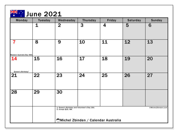 Calendar June 2021 - Australia. Public Holidays. Monthly Calendar and free timetable to print.