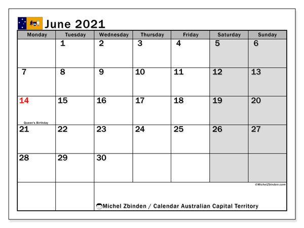 Calendar June 2021 - Australian Capital Territory. Public Holidays. Monthly Calendar and free timetable to print.