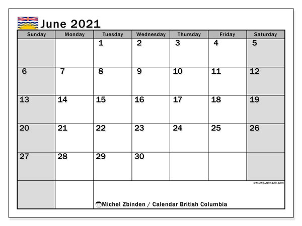 June 2021 Calendar, with the holidays of British Columbia. Free printable calendar with public holidays.