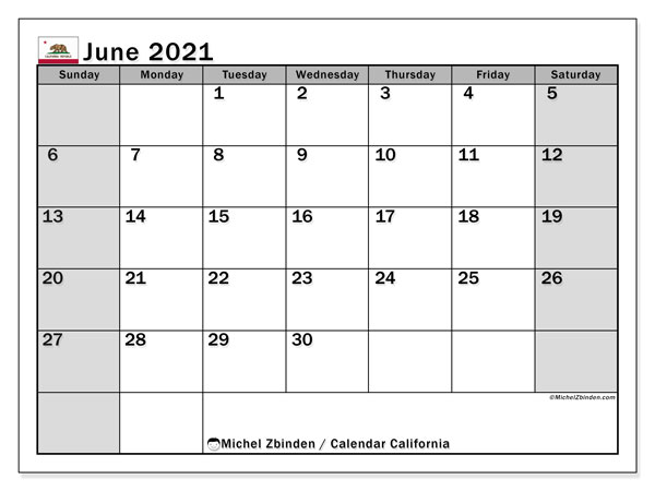 June 2021 Calendar, with the holidays of California. Free printable calendar with public holidays.