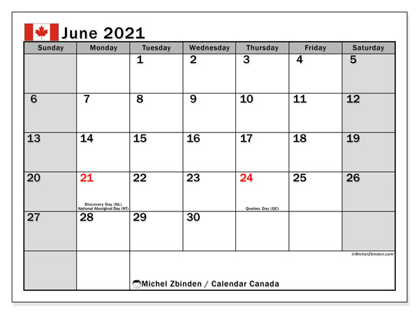 June 2021 Calendar, with the holidays of Canada. Holidays calendar to print free.