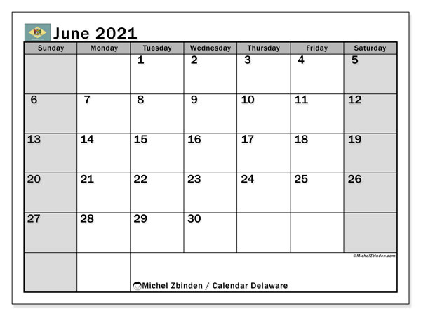 June 2021 Calendar, with the holidays of Delaware. Holidays calendar to print free.