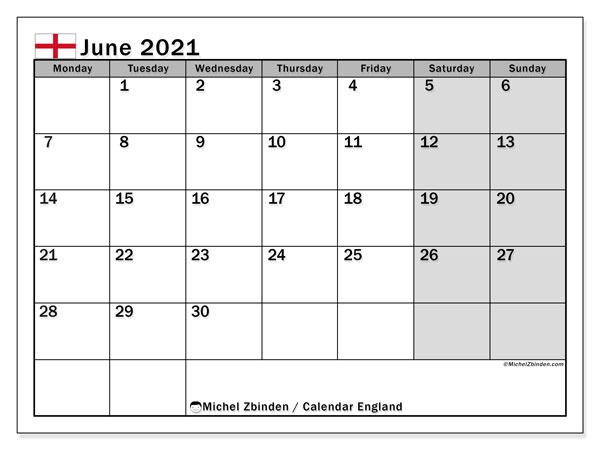 June 2021 Calendar, with the holidays of England. Holidays calendar to print free.