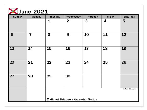 June 2021 Calendar, with the holidays of Florida. Holidays calendar to print free.