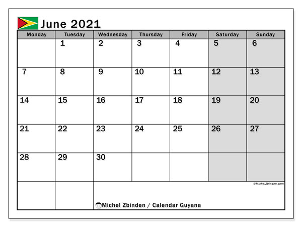 June 2021 Calendar, with the holidays of Guyana. Free printable calendar with public holidays.
