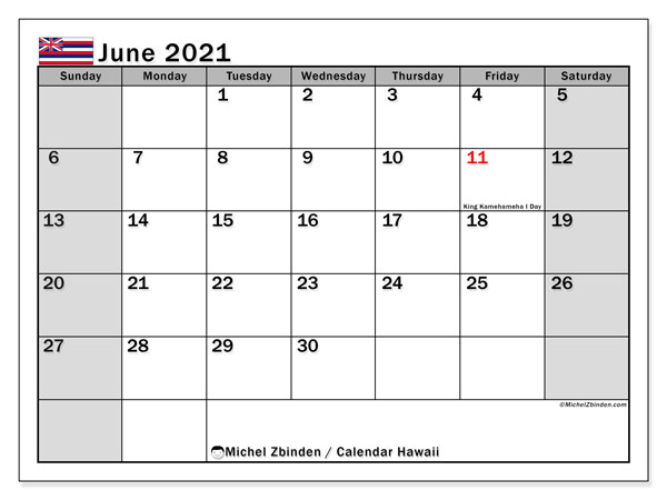 "Printable ""Hawaii"" calendar with public holidays. Monthly June 2021 calendar and bullet journal to print free."