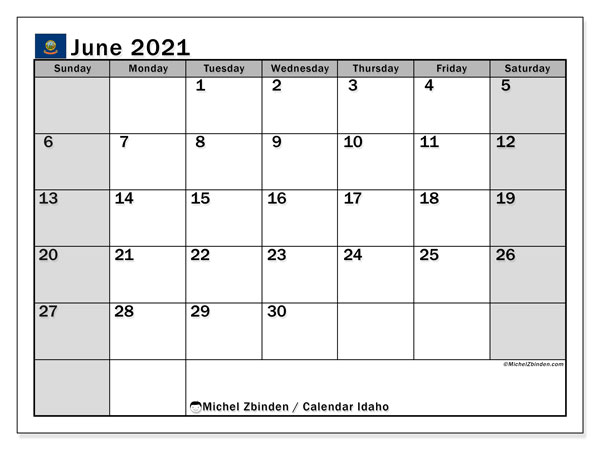 "Printable ""Idaho"" calendar with public holidays. Monthly June 2021 calendar and free printable schedule."