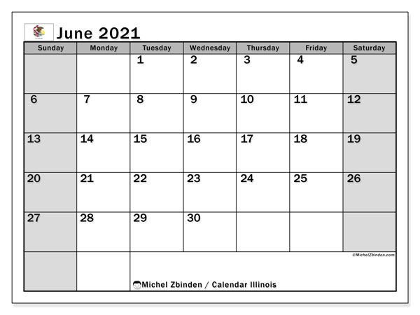 Calendar June 2021 - Illinois. Public Holidays. Monthly Calendar and agenda to print free.