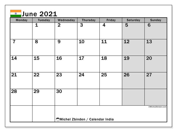 June 2021 Calendar, with the holidays of India. Free printable calendar with public holidays.