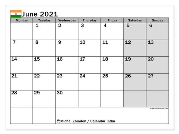 Printable June 2021 India Calendar Michel Zbinden En